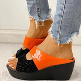 Kakimoda Fashion Studded Muffin Wedge Sandals