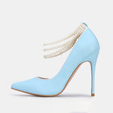 Kakimoda Fashion Elastic Band Beads Pointed Toe Heels