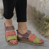 Kakimoda Plus Size Stitching Block Wedge Sandals
