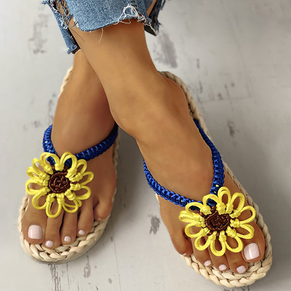 Kakimoda Sunflower Design Toe Post Flat Slipper