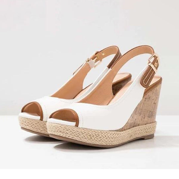Kakimoda Plus Size Leather Peep Toe Wedge Heel Sandals