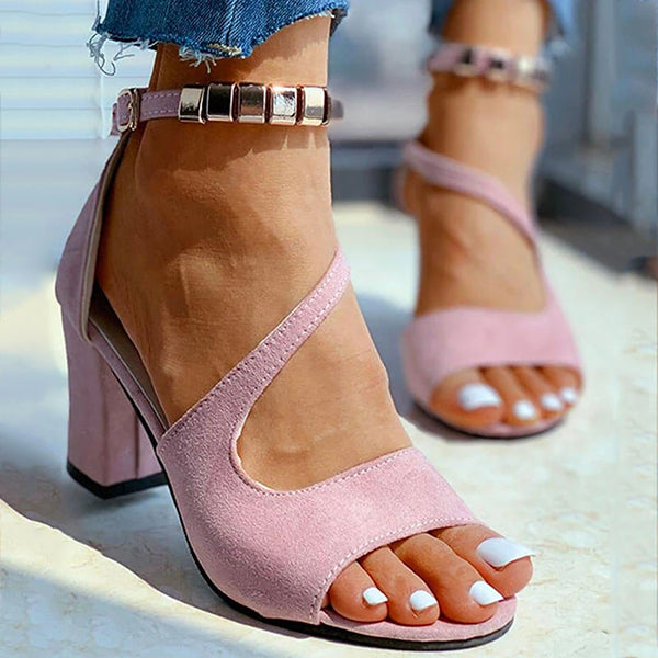 Kakimoda Women Summer Open Toe Buckle Chunky Heel Sandals