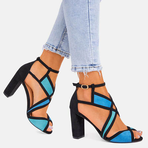 Kakimoda Women Hit Color Peep Toe Buckle Strap Chunky Heel Sandals