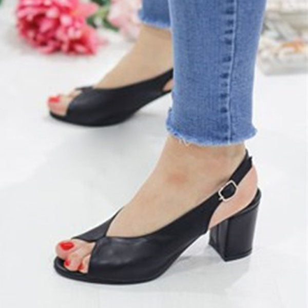 Kakimoda Adjustable Buckle Chunky Heel Peep Toe Heels