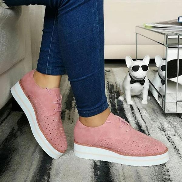 Kakimoda Hollow-Out Wedge Heel Lace Up Summer Sneakers