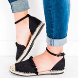 Kakimoda Low Heel Suede Espadrille Closed Toe Ankle Strap Sandals