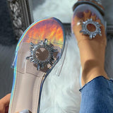 Kakimoda Diamante Flower Detail Clear Perspex Flat Slider Sandals
