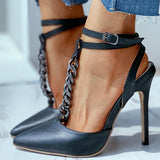 Kakimoda Chain Design Ankle Strap Thin Heels