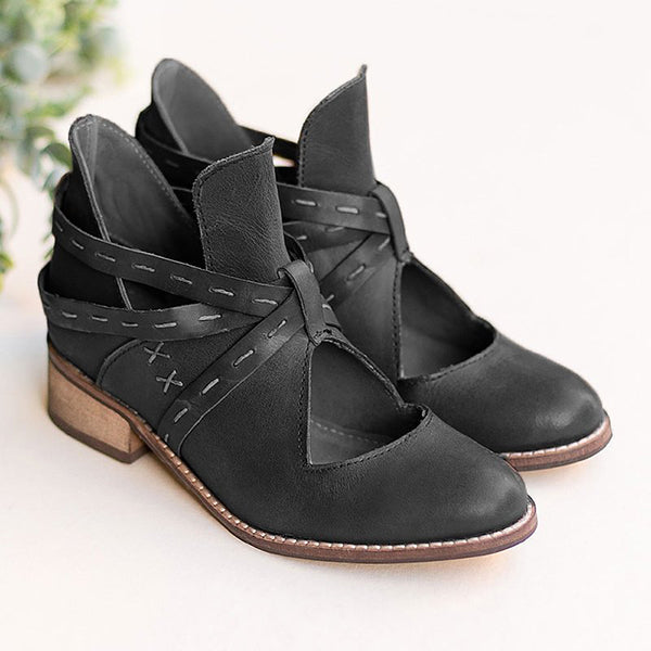 Kakimoda Women Vintage Ankle Boots Casual Chic Hollow Out Boots