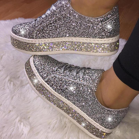Kakimoda Women Fashion Rhinestone Sequins Lace Up Sneakers