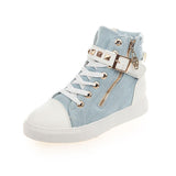 Kakimoda Women Daily Denim Rivet Zipper Flat Sneakers