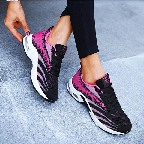 Kakimoda Women Athletic Flyknit Fabric Hit Color Air Cushion Sneakers