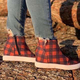 Kakimoda Round Toe Plaid Flat With Side Zipper Casual Boots