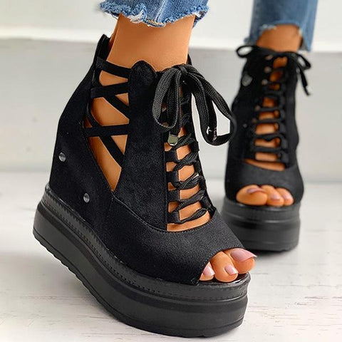 Kakimoda Peep Toe Lace Up Platform Wedges Boots