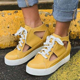 Kakimoda Hollow Lace-Up Round Toe Mid-Cut Upper Plain Sneakers