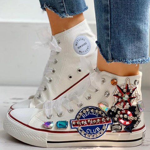 Kakimoda Rhinestone Mesh Lace-Up Casual Sneakers