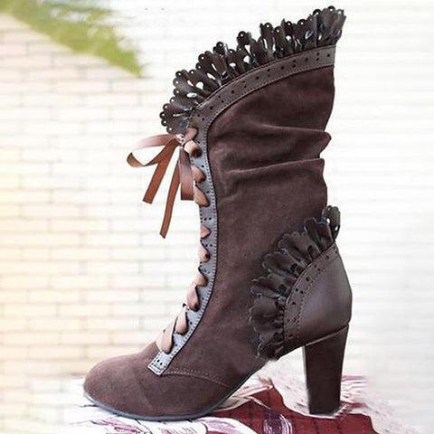 Kakimoda Ruffles Lace Up High Heels Mid-Calf Boots