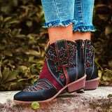 Kakimoda Stars Pattern Mixed Colors Zipper Chunky Heel Cowboy Boots