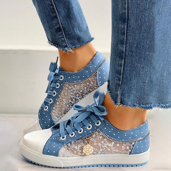 Kakimoda Floral Pattern Embroidery Dot Print Sneakers