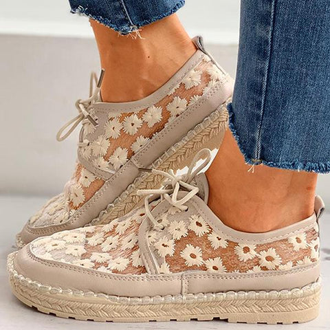 Kakimoda Floral Pattern Woven Flax Lace-Up Sneakers