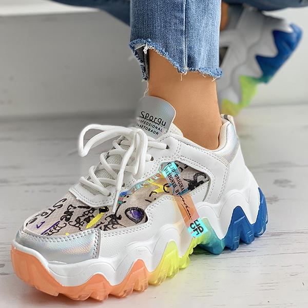 Kakimoda Letter Print Colorblock Lace-Up Muffin Sneakers