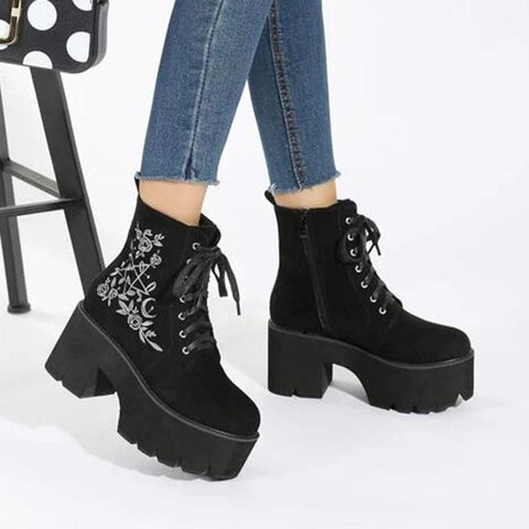 Kakimoda Floral Embroidery Lace-Up Front Chunky Boots
