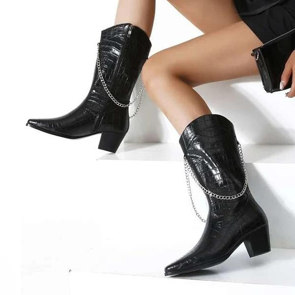 Kakimoda Croc Embossed Chain Decor Boots