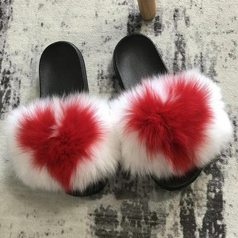 Kakimoda Large Fur Fox Fur Slides White/Red Heart Fulffy Fur Slides Sandals Slippers