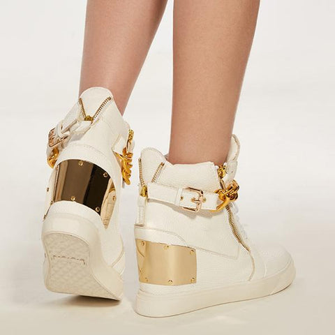 Kakimoda Gold Hidden Wedge Heel Sneakers