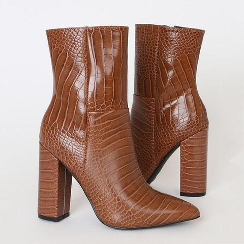 Kakimoda Crocodile Pointed-Toe Mid Calf Boots