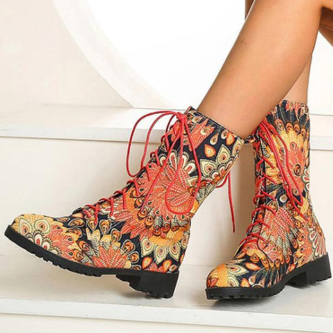 Kakimoda Floral Block Heel Round Toe Lace-Up Mid-Calf Cowboy Boots
