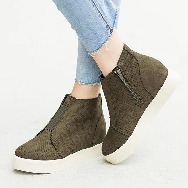 Kakimoda Wedge Platform Sneakers Side Zipper Heeled Booties