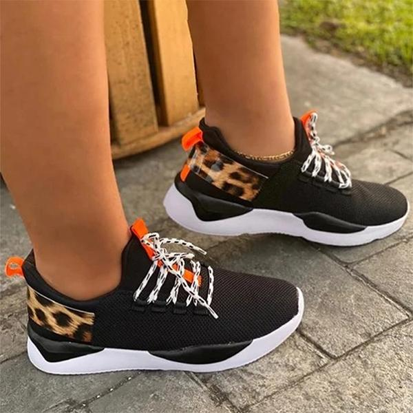 Kakimoda Lace-Up Sneakers Leopard Elastic Flat Walking Shoes