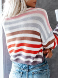 Kakimoda Long Sleeve Striped Loose Pullover Sweaters
