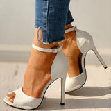 Kakimoda Party Peep-Toe Ankle Strap Thin Heels