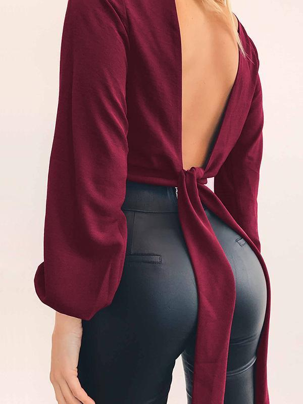 Kakimoda Sexy Slim-Fit Long Sleeve Knotted Top