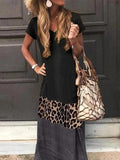 Kakimoda Casual Color Block Leopard Maxi Dress