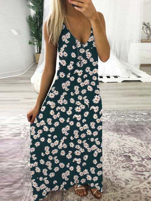 Kakimoda Sleeveless Printed V Neck Holiday Dress