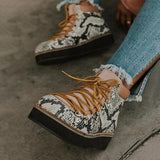 Kakimoda Fashion Snake Pattern Hiker Boots