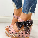 Kakimoda Dot Bowknot Design Platform Wedge Sandals