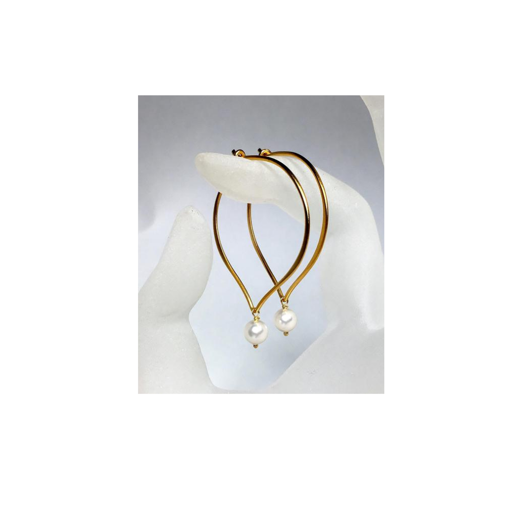 Pearl Golden Hoop Ear Wires - MiShelli
