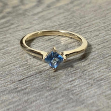 Load image into Gallery viewer, Aquamarine 14K Gold Solitaire Ring, Princess Cut Gemstone March Birthstone