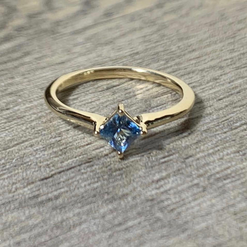 Aquamarine 14K Gold Solitaire Ring, Princess Cut Gemstone March Birthstone - MiShelli