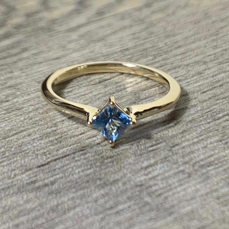 Aquamarine 14K Gold Solitaire Ring, Princess Cut Gemstone March Birthstone
