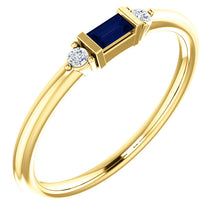 Load image into Gallery viewer, Blue Sapphire Baguette Stacking Ring, 14K White, Yellow, or Rose Gold - MiShelli