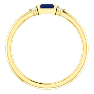 Blue Sapphire Baguette Stacking Ring, 14K White, Yellow, or Rose Gold - MiShelli