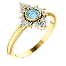 Load image into Gallery viewer, Aquamarine Halo Diamond Ring, March Birthstone - MiShelli