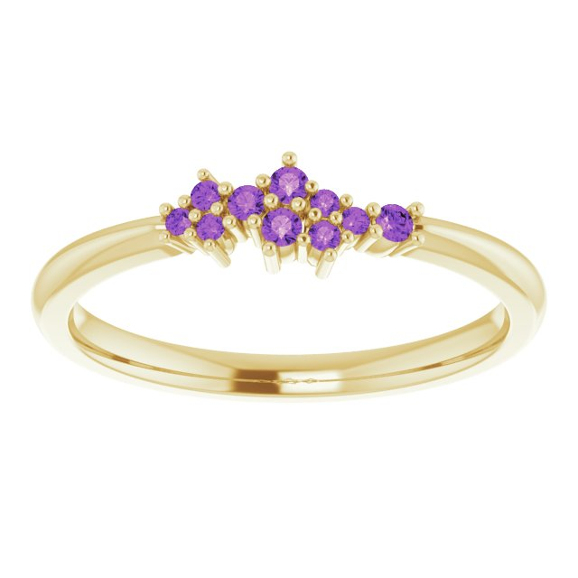 18K Gold Amethyst Cluster Stacking Ring - MiShelli