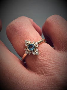 14K Gold Aquamarine Halo Diamond Ring - MiShelli