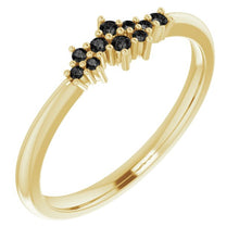 Load image into Gallery viewer, 18K Gold Black Diamond Cluster Stacking Ring - MiShelli
